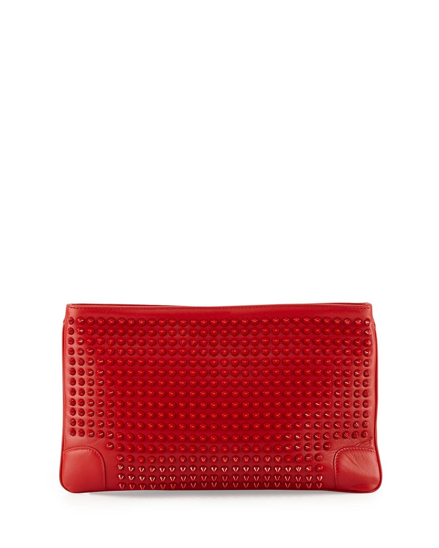 Christian louboutin Loubiposh Studded Clutch Bag in Red
