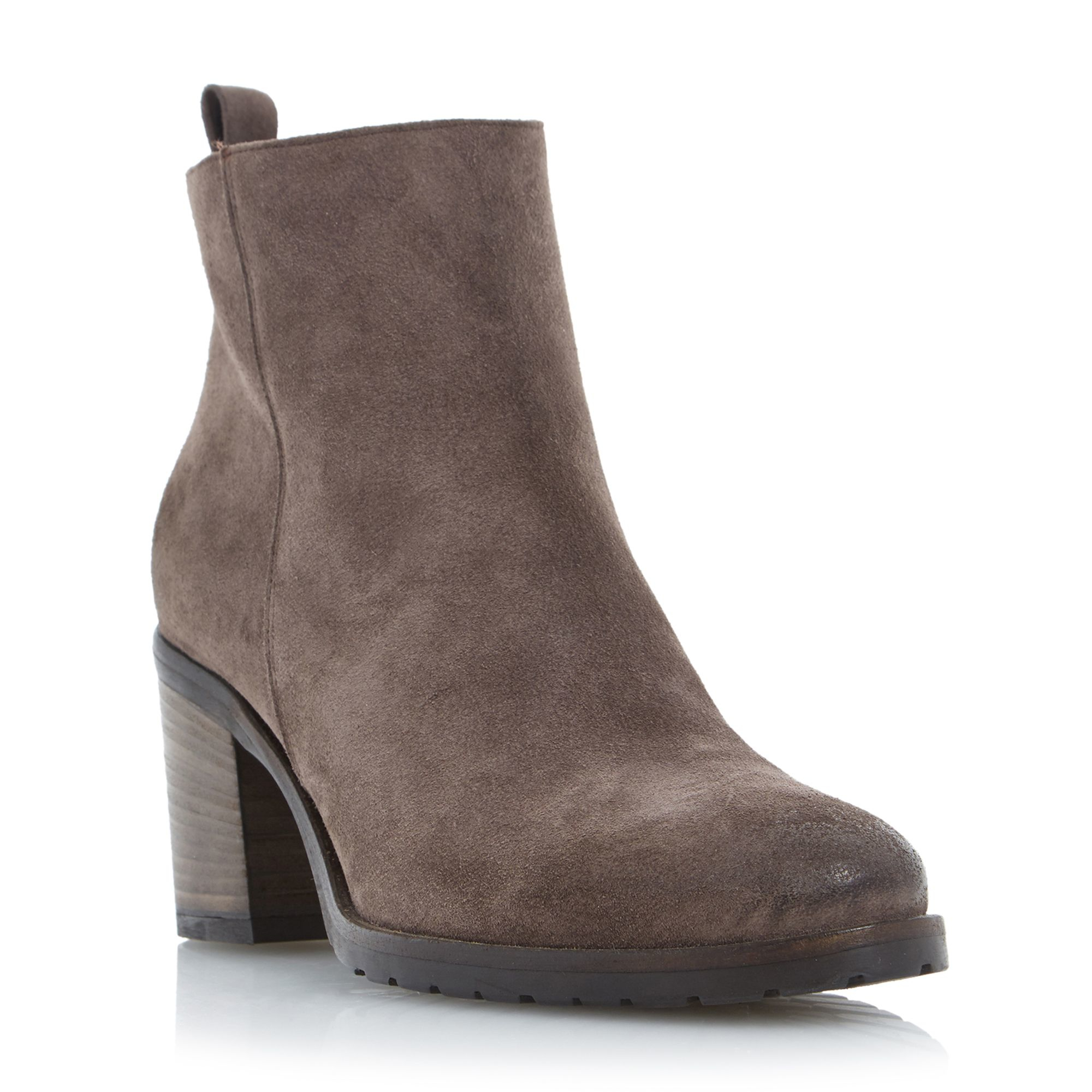 dune black phelix suede block heel ankle boots in brown