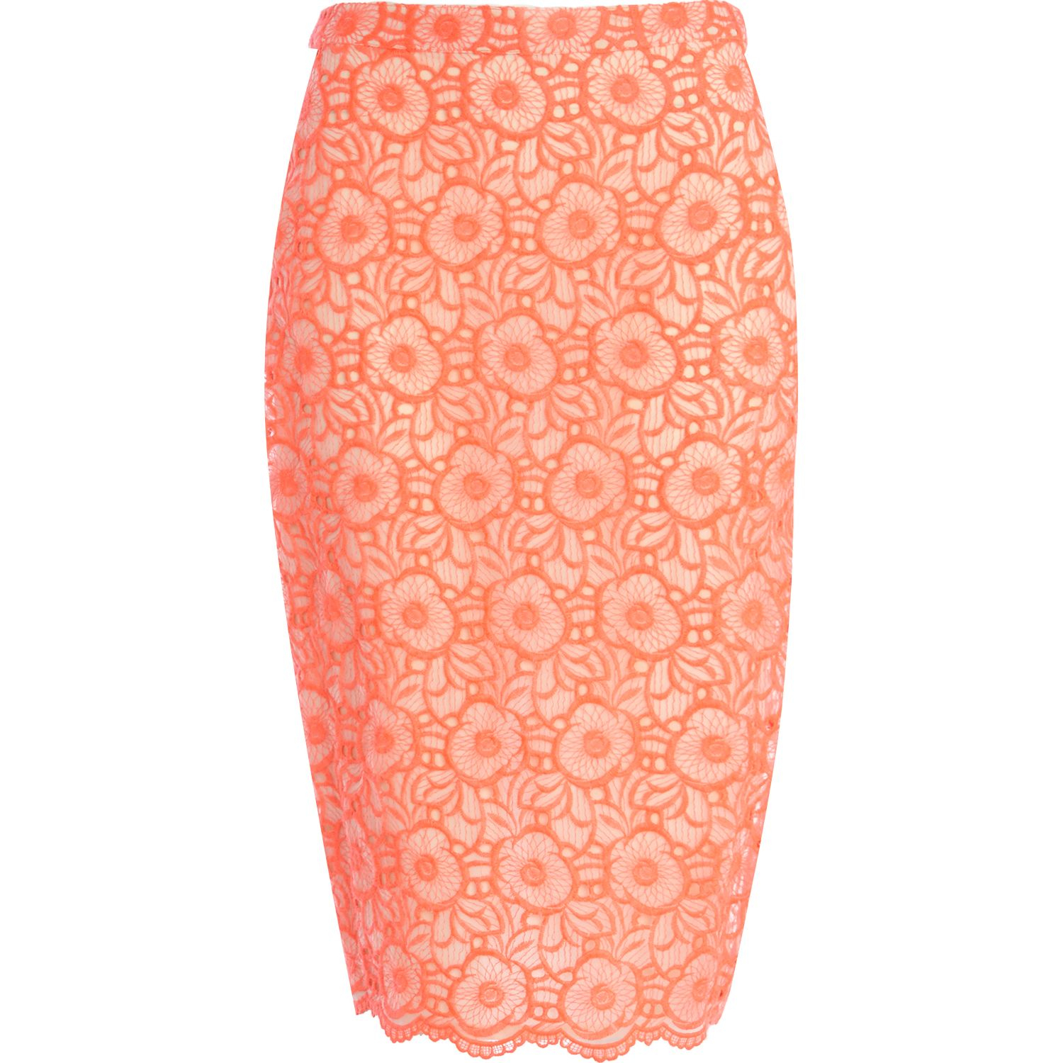 river island pink floral embroidered pencil skirt in pink