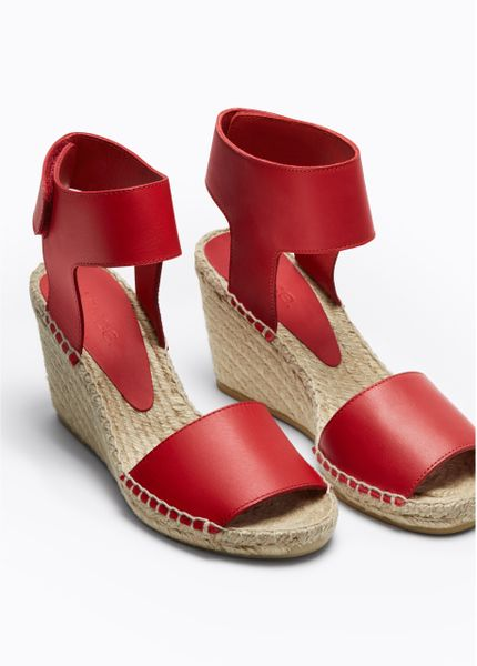 Vince Sophie Leather Espadrille Wedge In Red Rhubarb Lyst