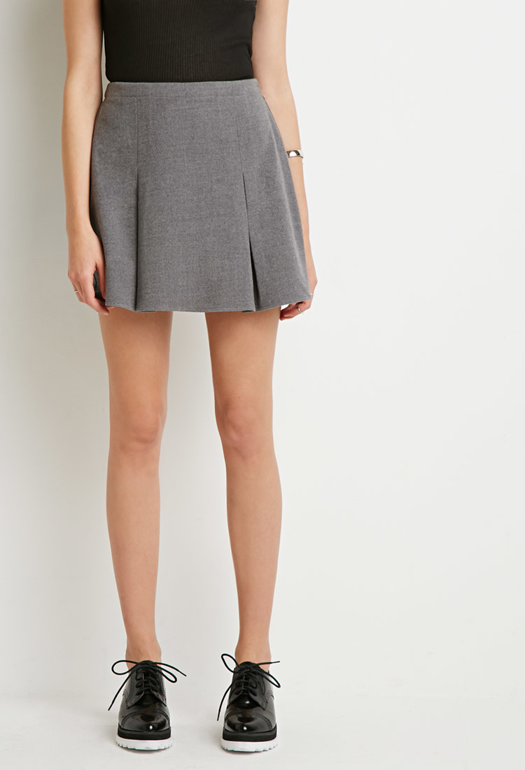 forever 21 pleated mini skirt in gray lyst