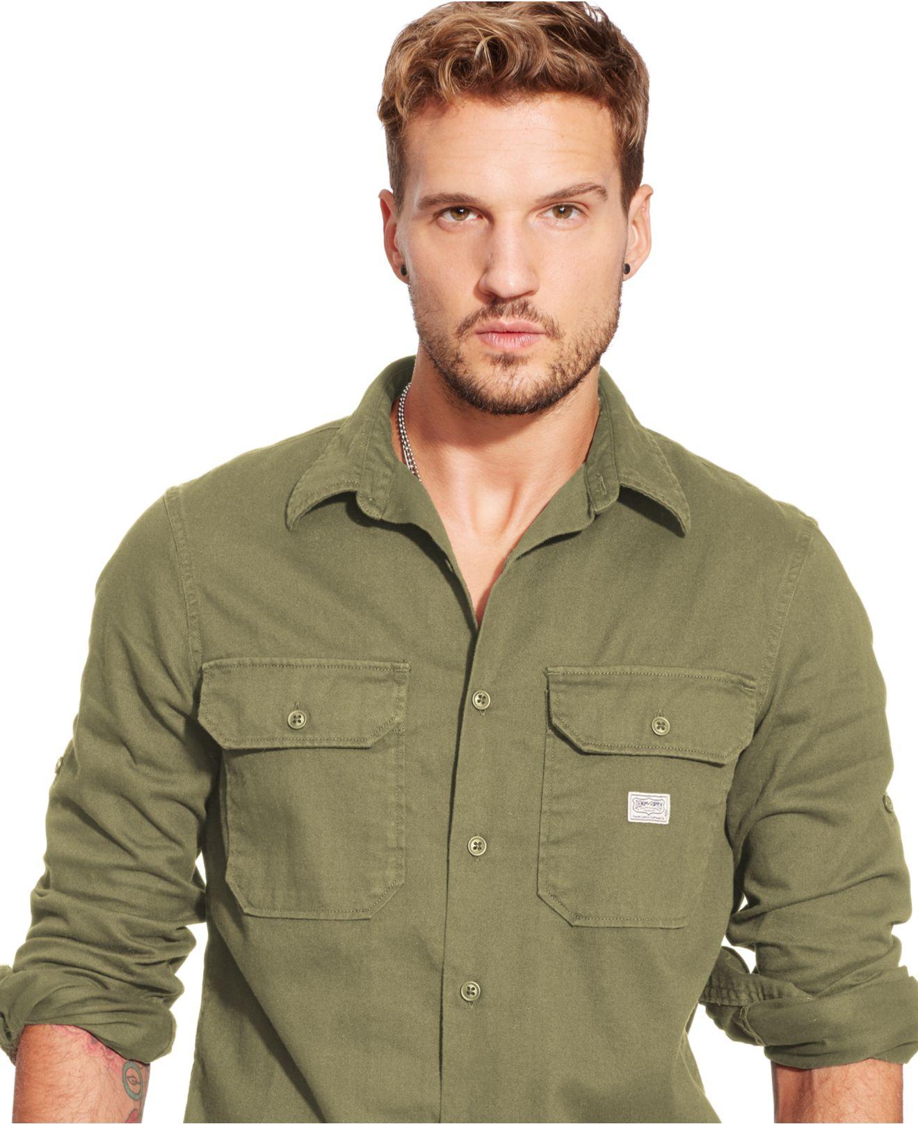 d710bbd9bbd Lyst - Denim   Supply Ralph Lauren Men s Twill Military Shirt in ...