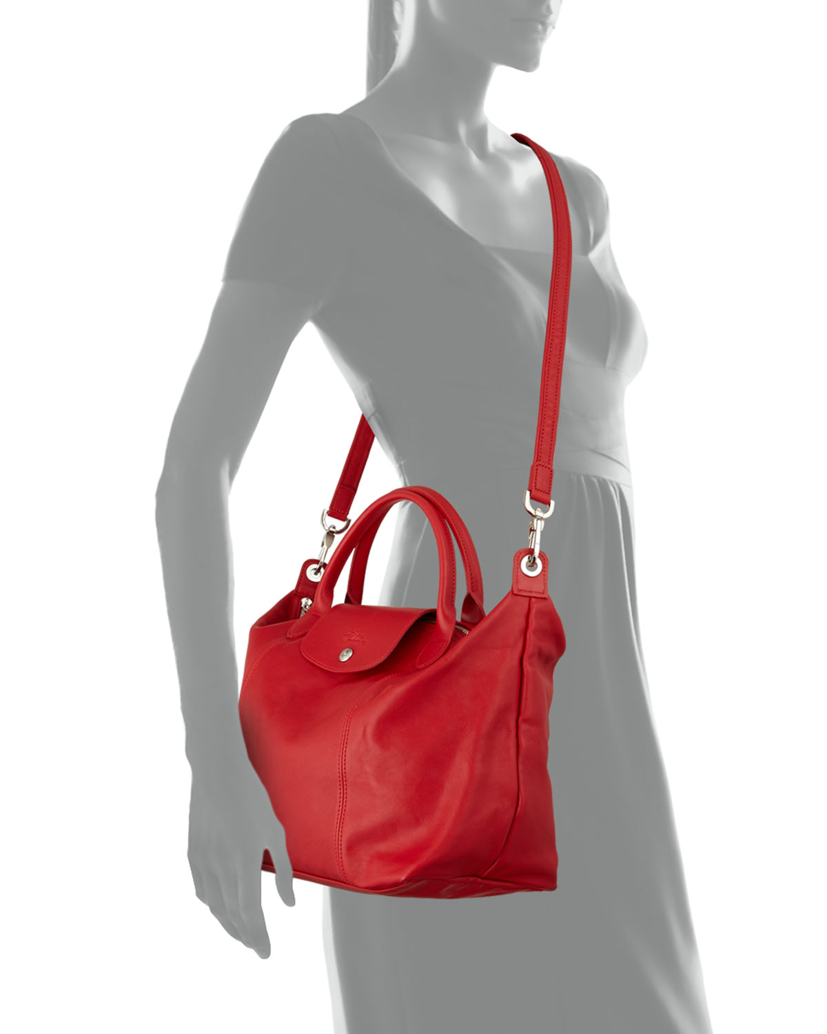 Longchamp Le Pliage Cuir Handbag With Strap In Red Lyst