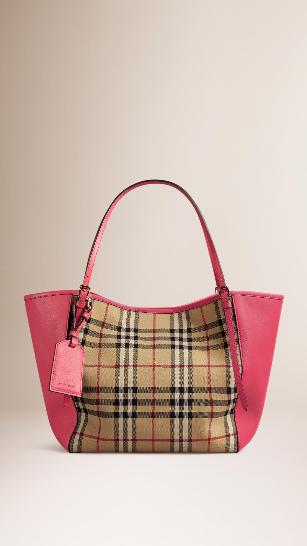 6e1e7f54d16d Burberry The Small Canter In Horseferry Check And Leather in Pink - Lyst