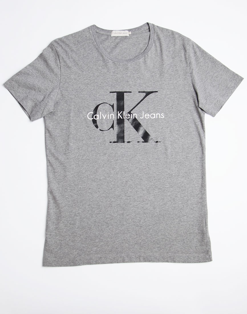 lyst calvin klein jeans classic t shirt grey in gray for men. Black Bedroom Furniture Sets. Home Design Ideas