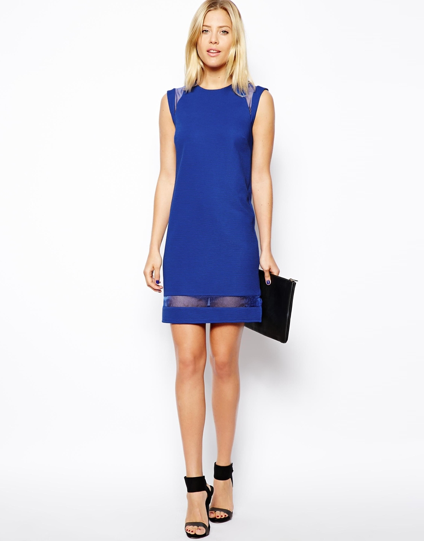Asos Shift Dress With Organza Detail in Blue - Save 32%   Lyst