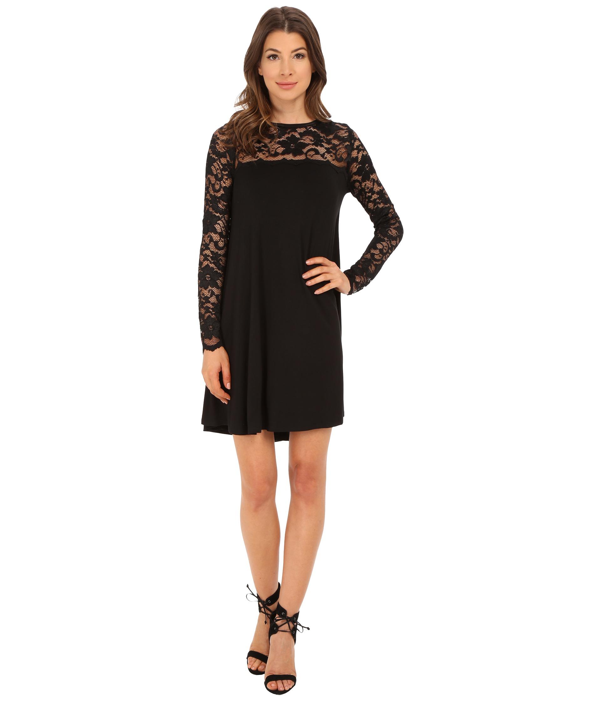 bab6857535a Karen Kane Long Sleeve Lace Yoke Swing Dress in Black - Lyst