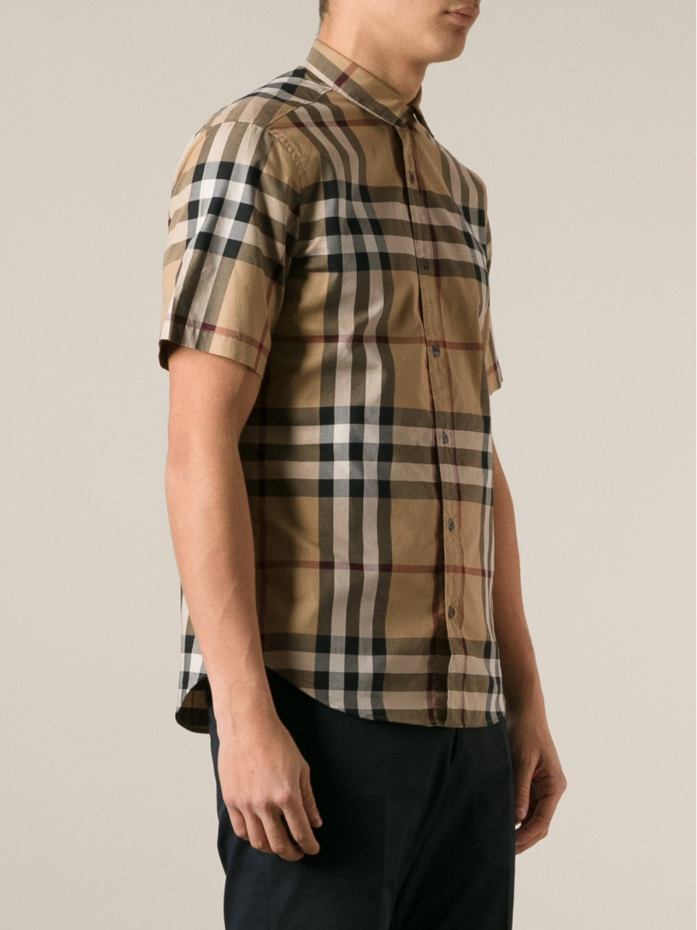 Lyst burberry brit checked shirt in natural for men for Burberry brit checked shirt
