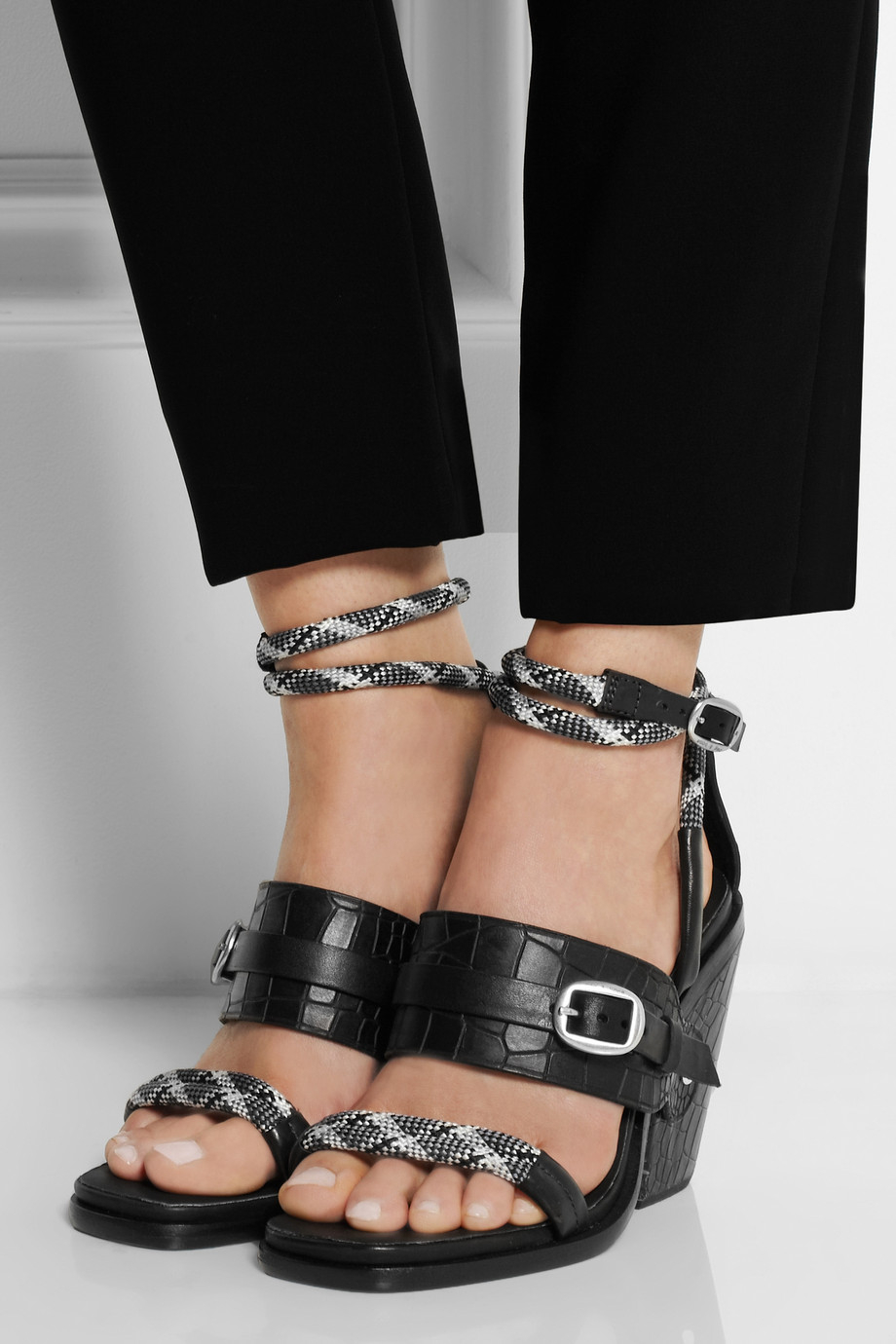 Rag Amp Bone Roni Croceffect Leather Sandals In Black Lyst