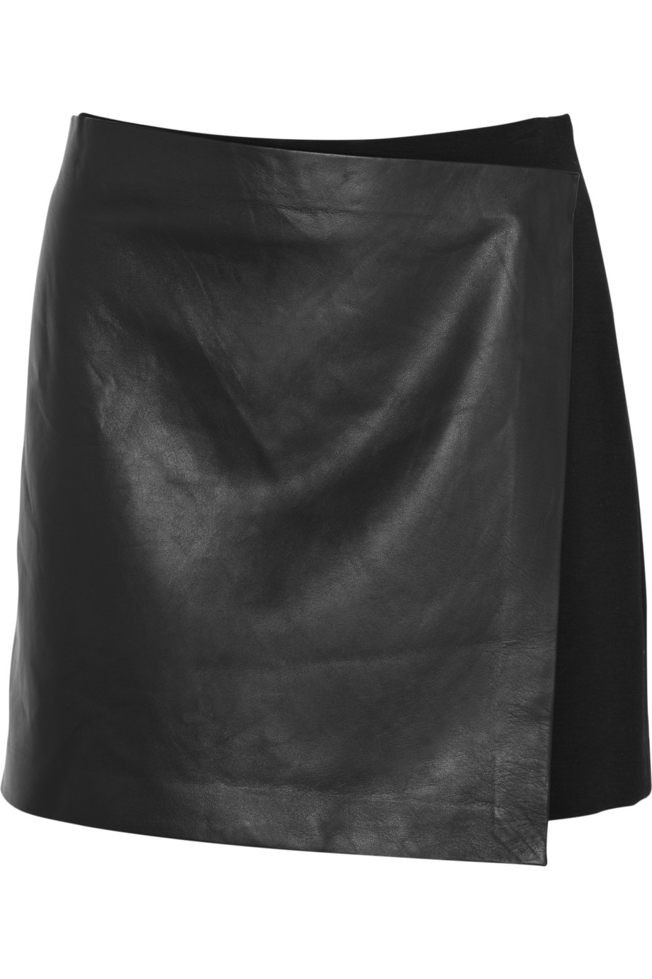 Theory Stilla Leather And Stretch-jersey Wrap Mini Skirt in Black ...