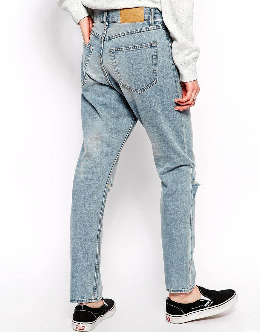 Cheap monday Boyfriend Jean With Rips in Blue | Lyst