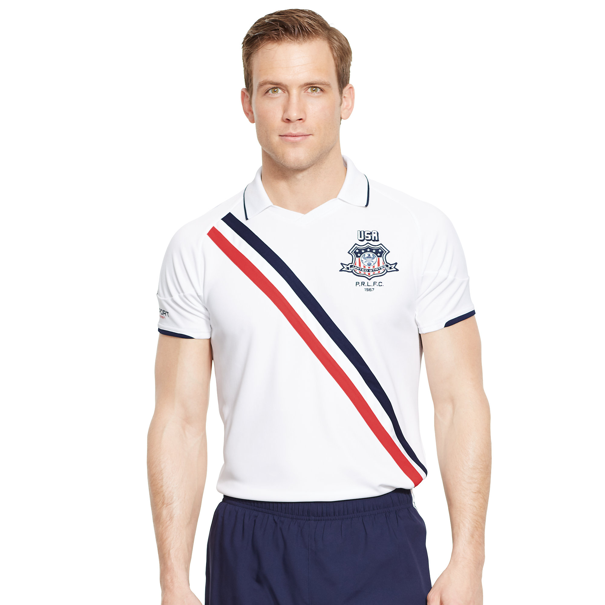 ralph lauren usa jersey polo shirt in white for men lyst. Black Bedroom Furniture Sets. Home Design Ideas
