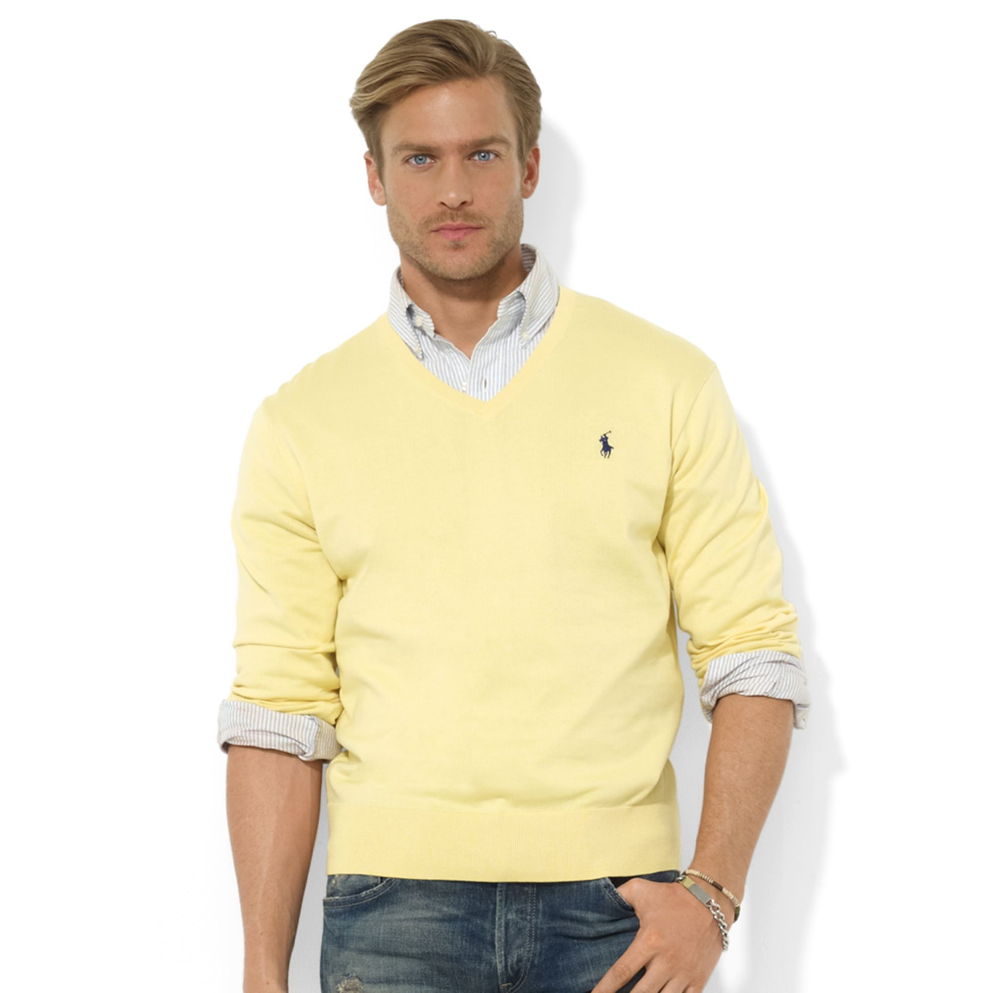 cdcc64ba Ralph Lauren Vneck Pima Cotton Sweater in Yellow for Men - Lyst