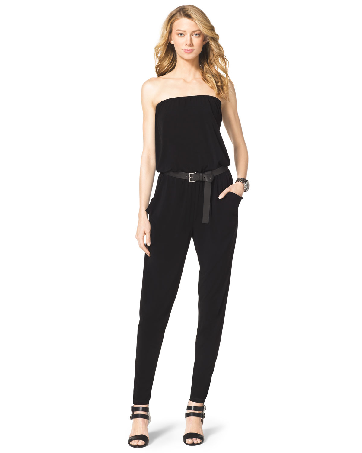 michael kors michael strapless jersey jumpsuit in silver black silver lyst. Black Bedroom Furniture Sets. Home Design Ideas