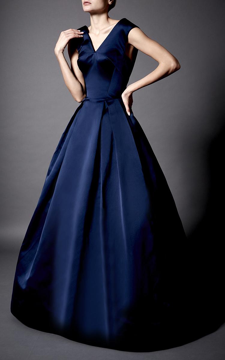Lyst - Zac Posen Double Face Duchesse Ball Gown in Blue
