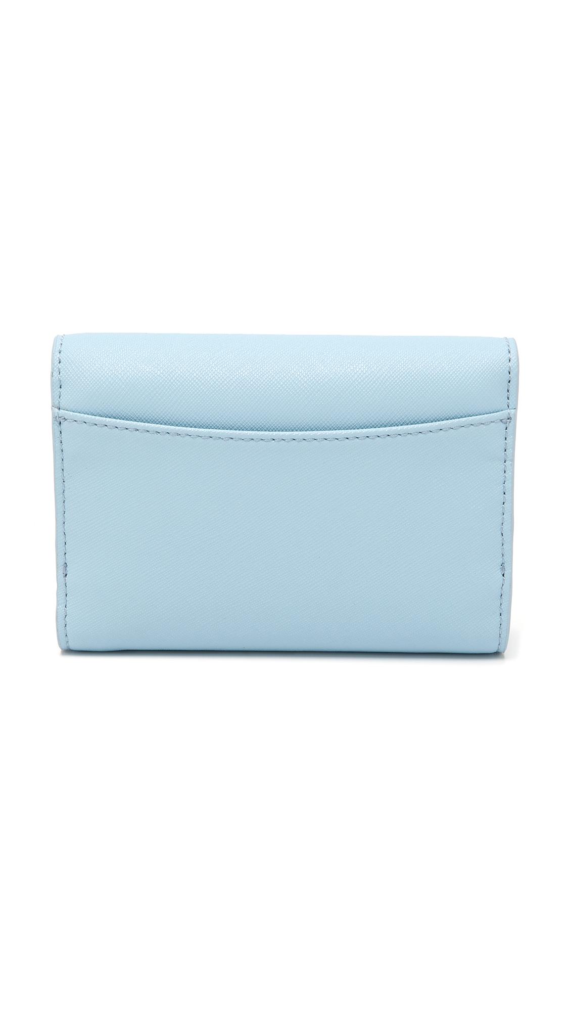 Lyst Tory Burch Robinson Medium Flap Wallet Iceberg in Blue