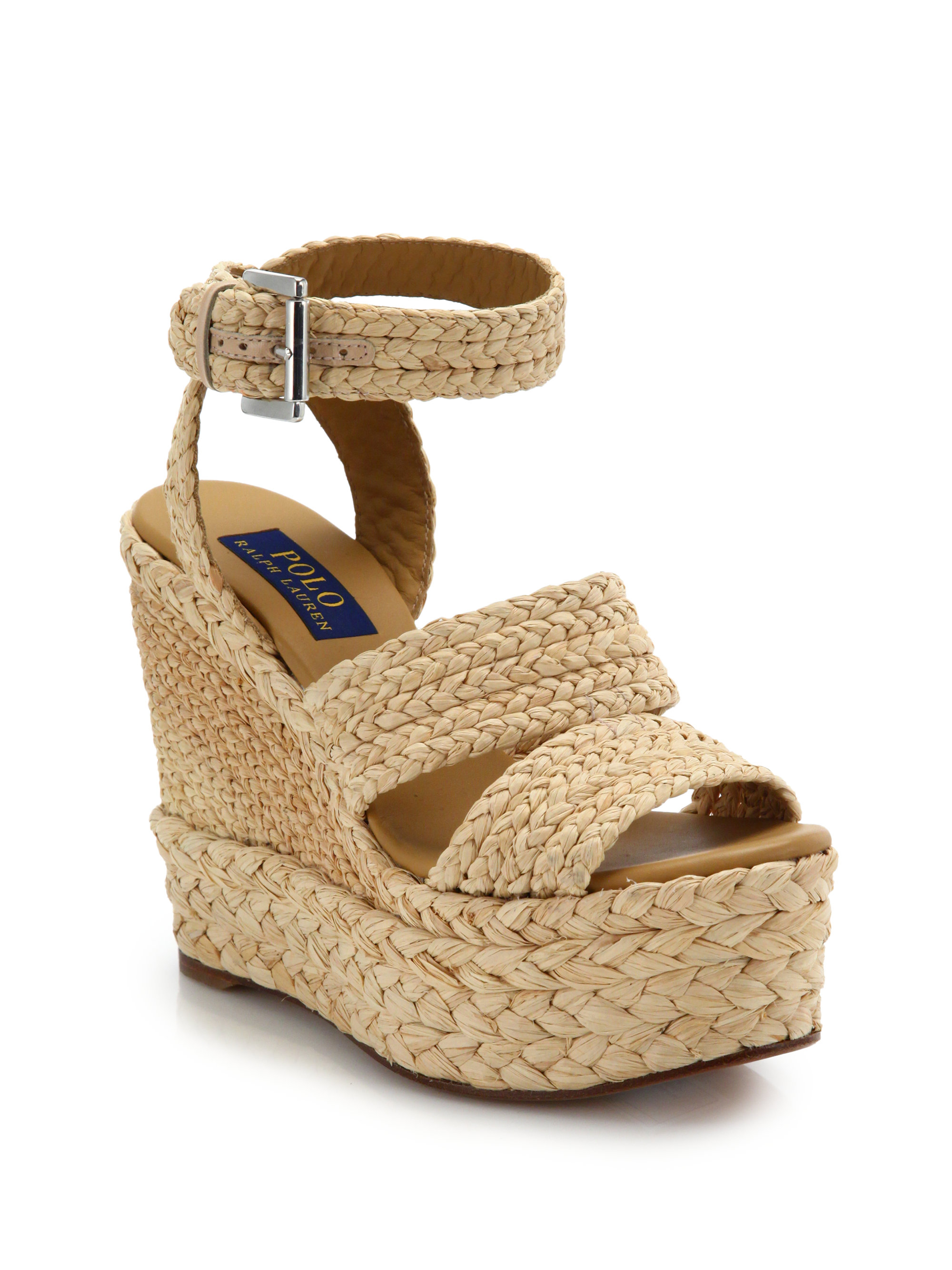 8af405d56cf1 Lyst - Polo Ralph Lauren Ethel Raffia Wedge Sandals in Natural