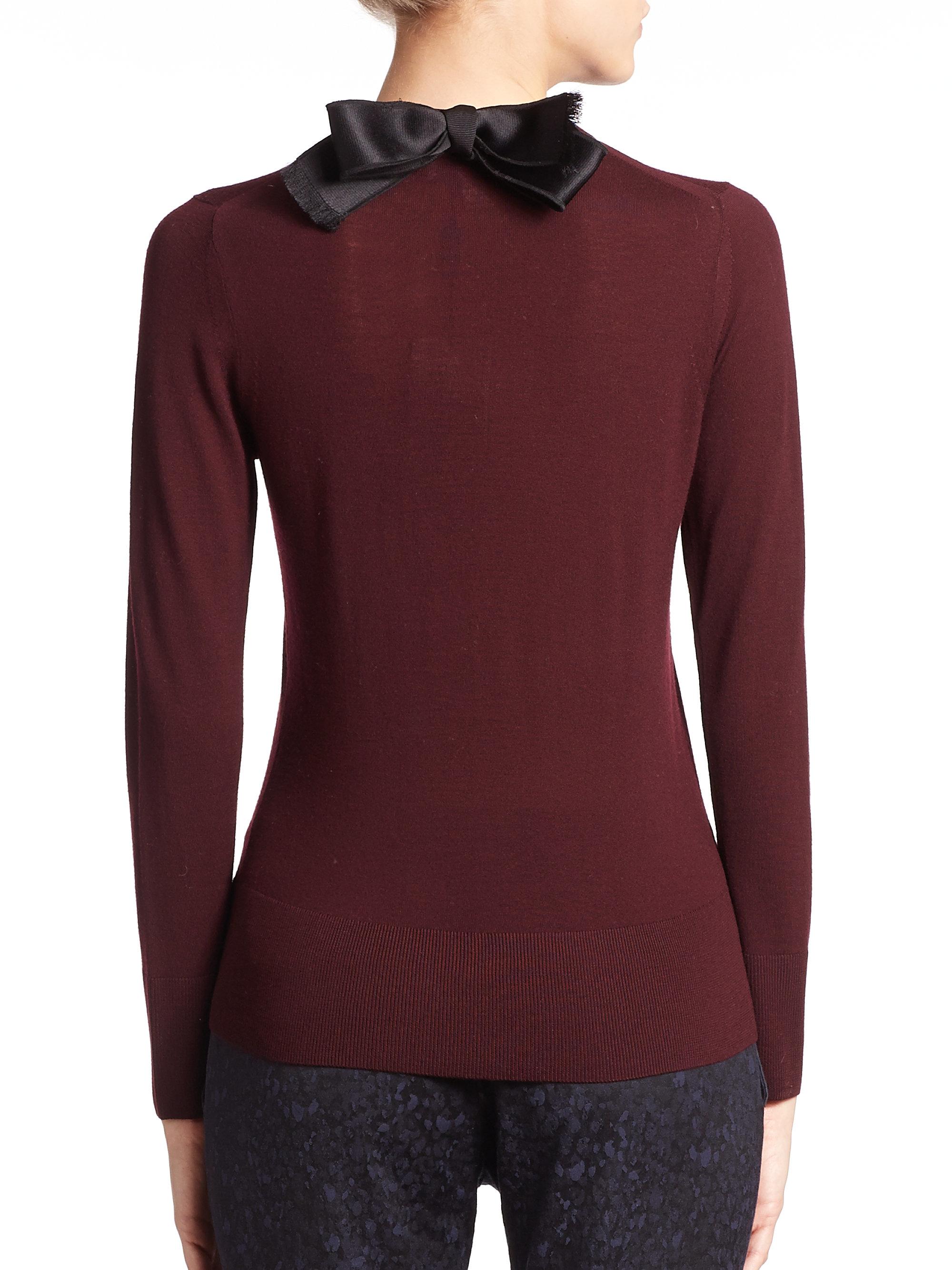 Burberry Bow Back Merino Wool Sweater in Purple | Lyst