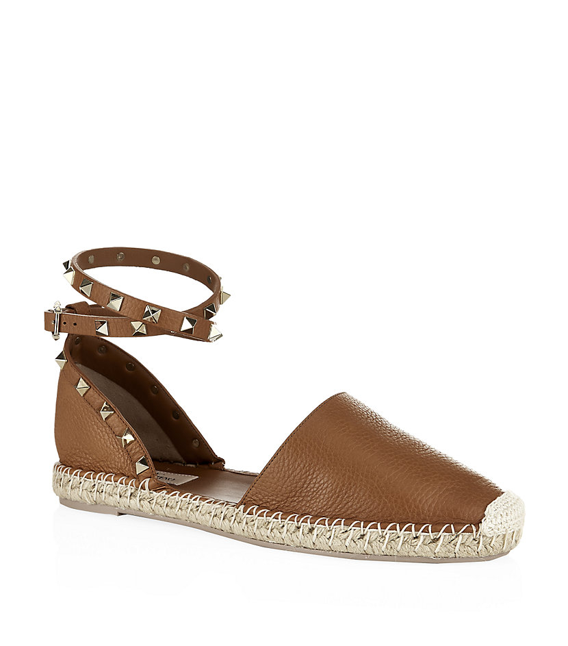 valentino rockstud espadrille in brown lyst. Black Bedroom Furniture Sets. Home Design Ideas