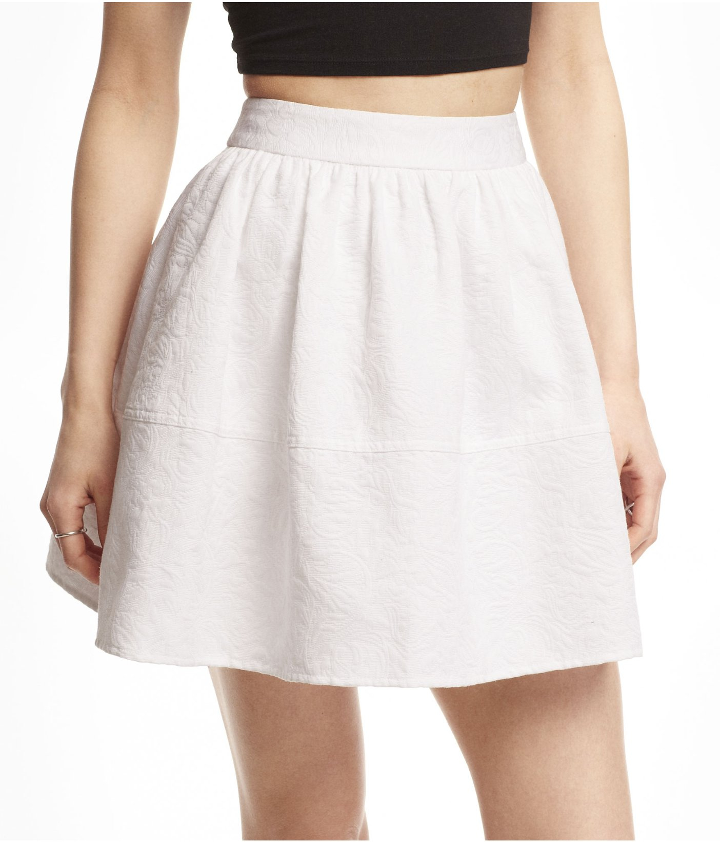 express high waist jacquard skirt in white true