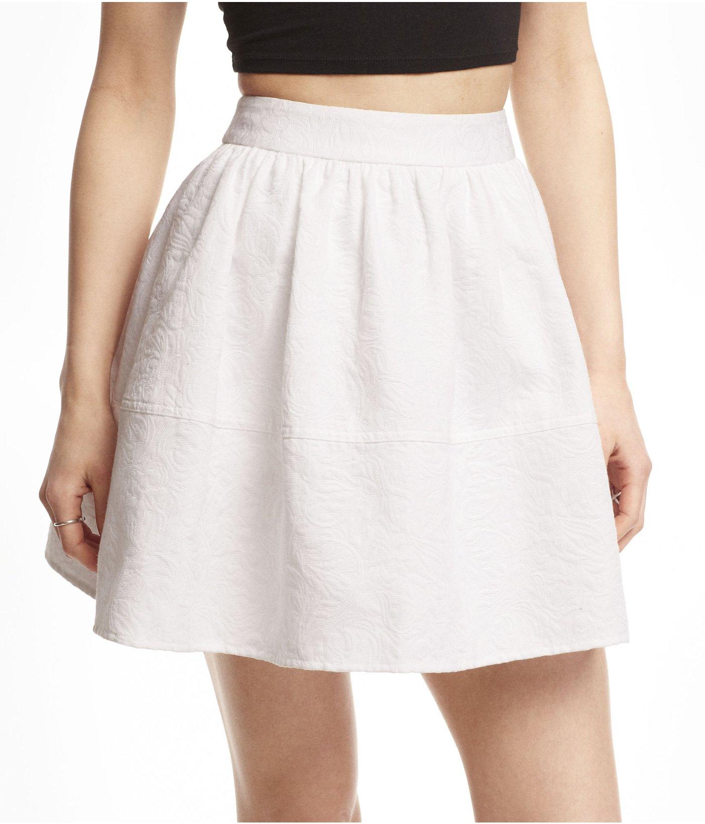 express high waist jacquard skirt in white lyst