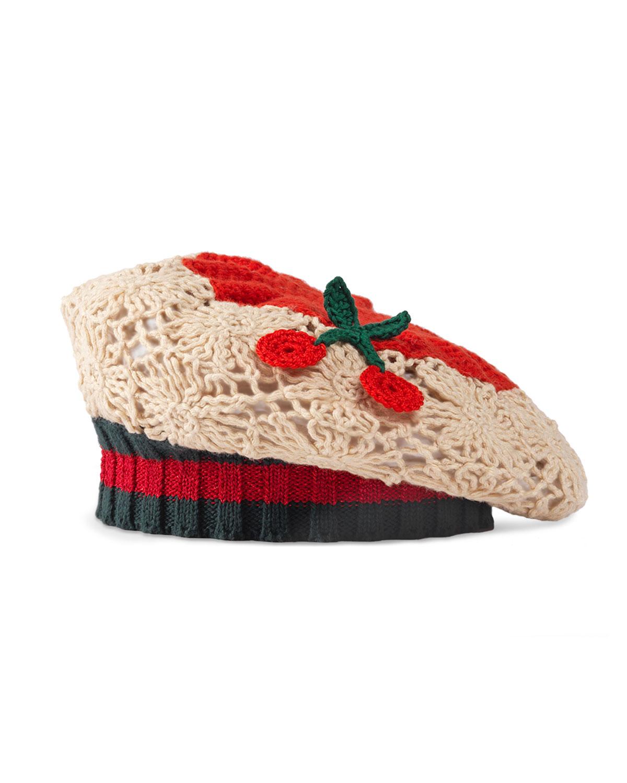 68c3f707b5 Gucci Girls  Crochet Cherry Beret in Red - Lyst