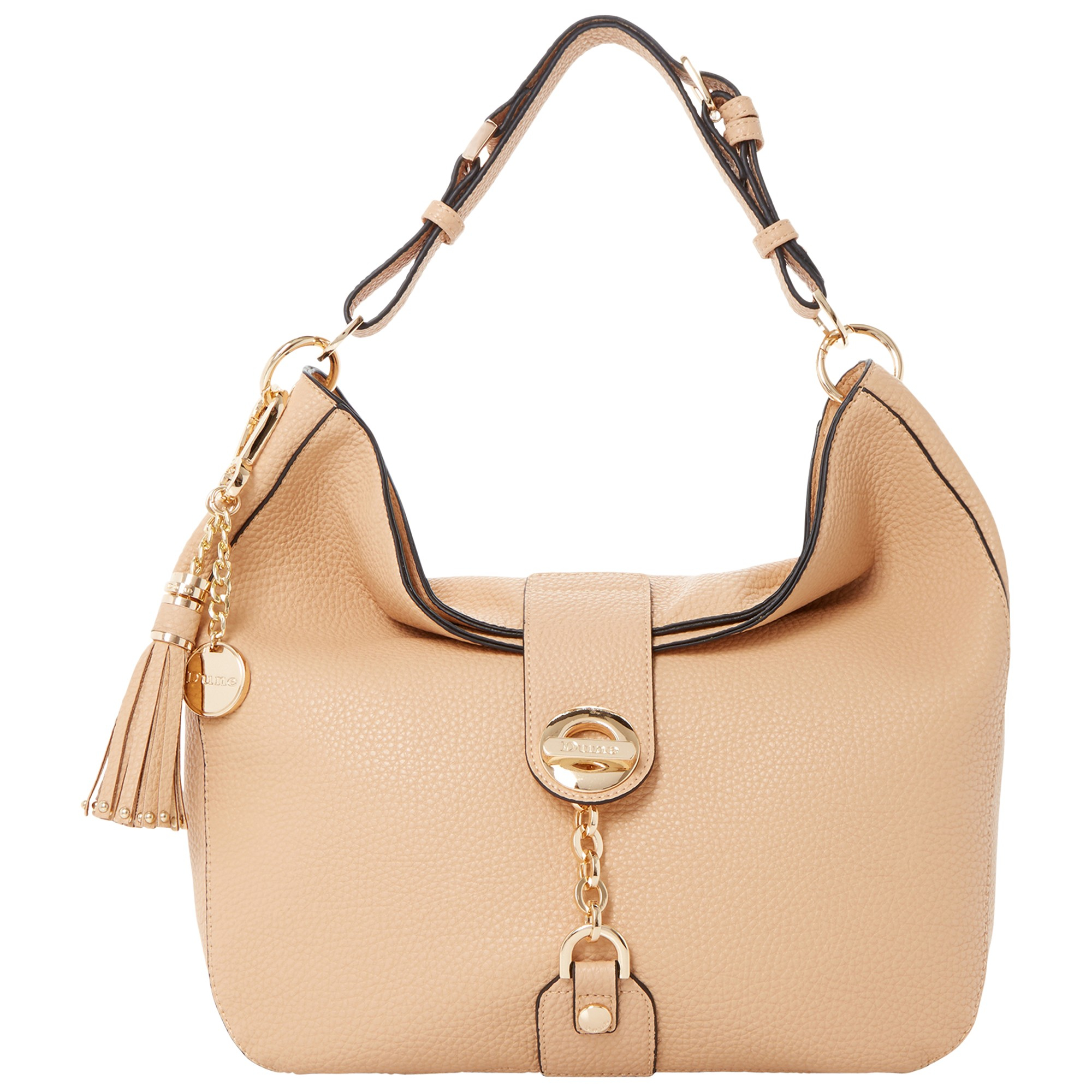 a915a7e721 Dune Dobbly Branded Metal Toggle Slouchy Shoulder Bag in Natural - Lyst