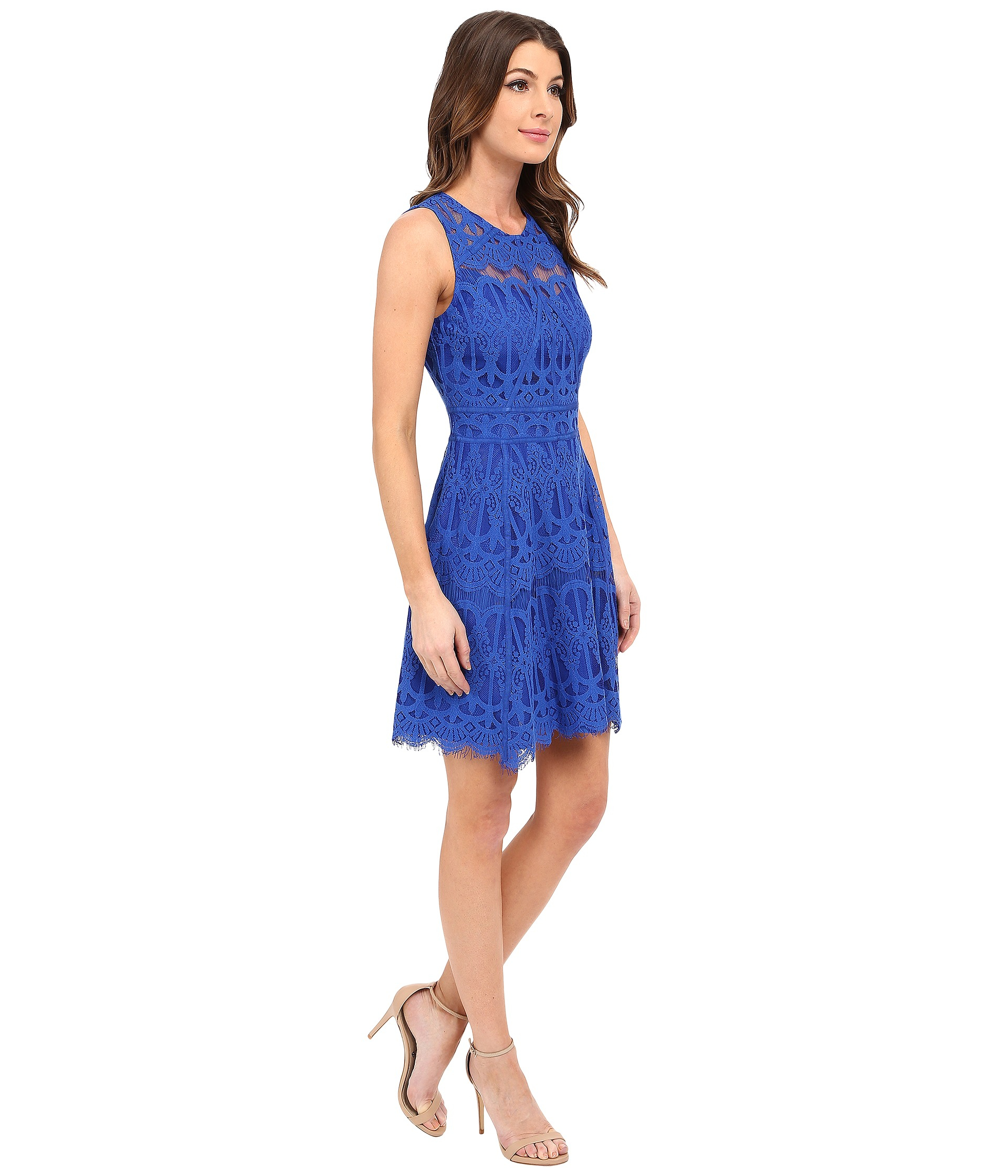 058201989c8 Lyst - Adelyn Rae Lace Fit And Flare Dress W  Gro Grain Contrast ...