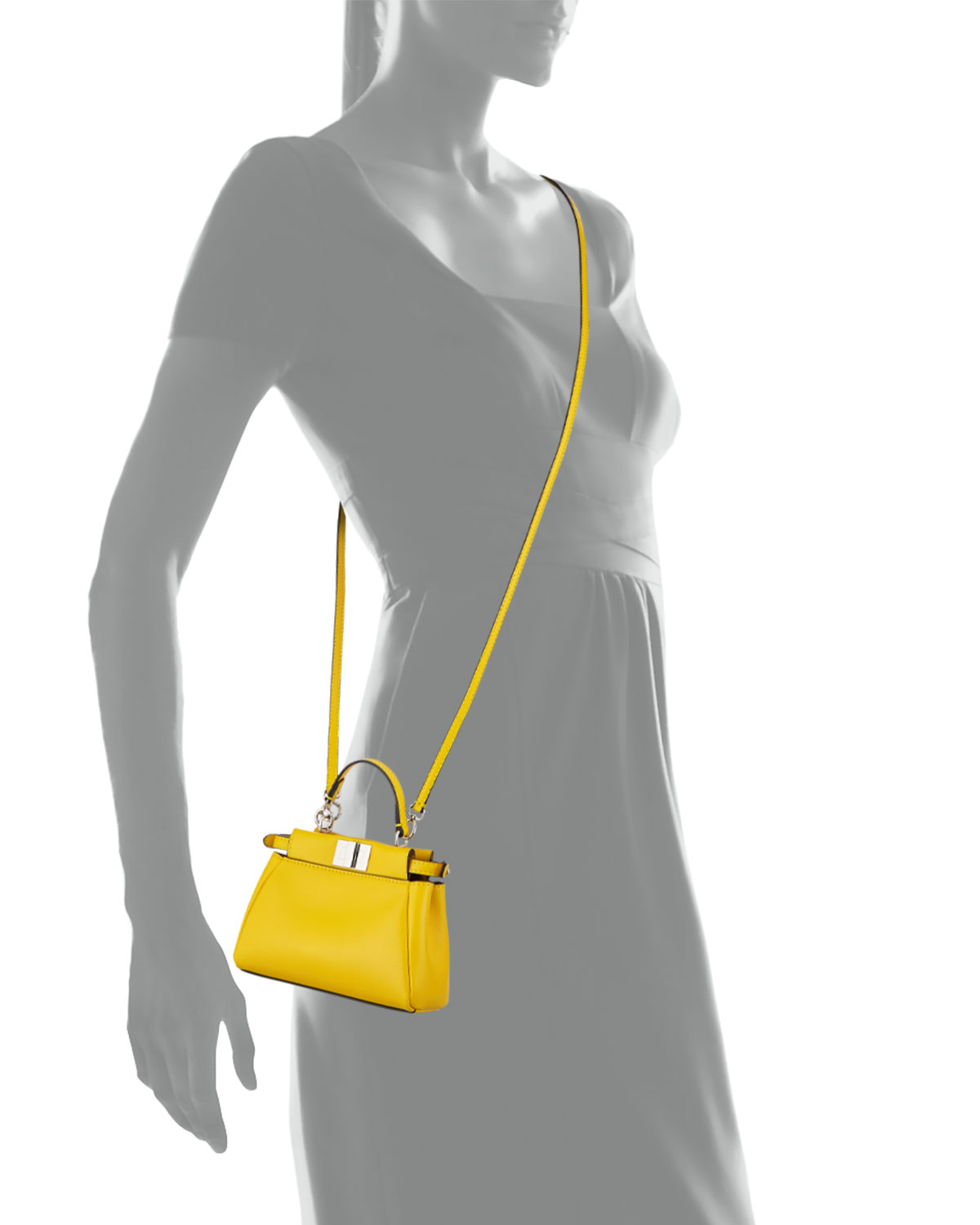 85239938fcaf ... cheap lyst fendi micro peekaboo leather satchel in yellow 8e23a fa0c9