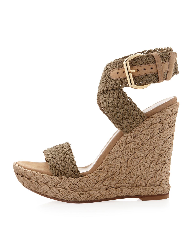 c04896dcd8a Lyst - Stuart Weitzman Alex Crochet Wedge Sandal in Natural