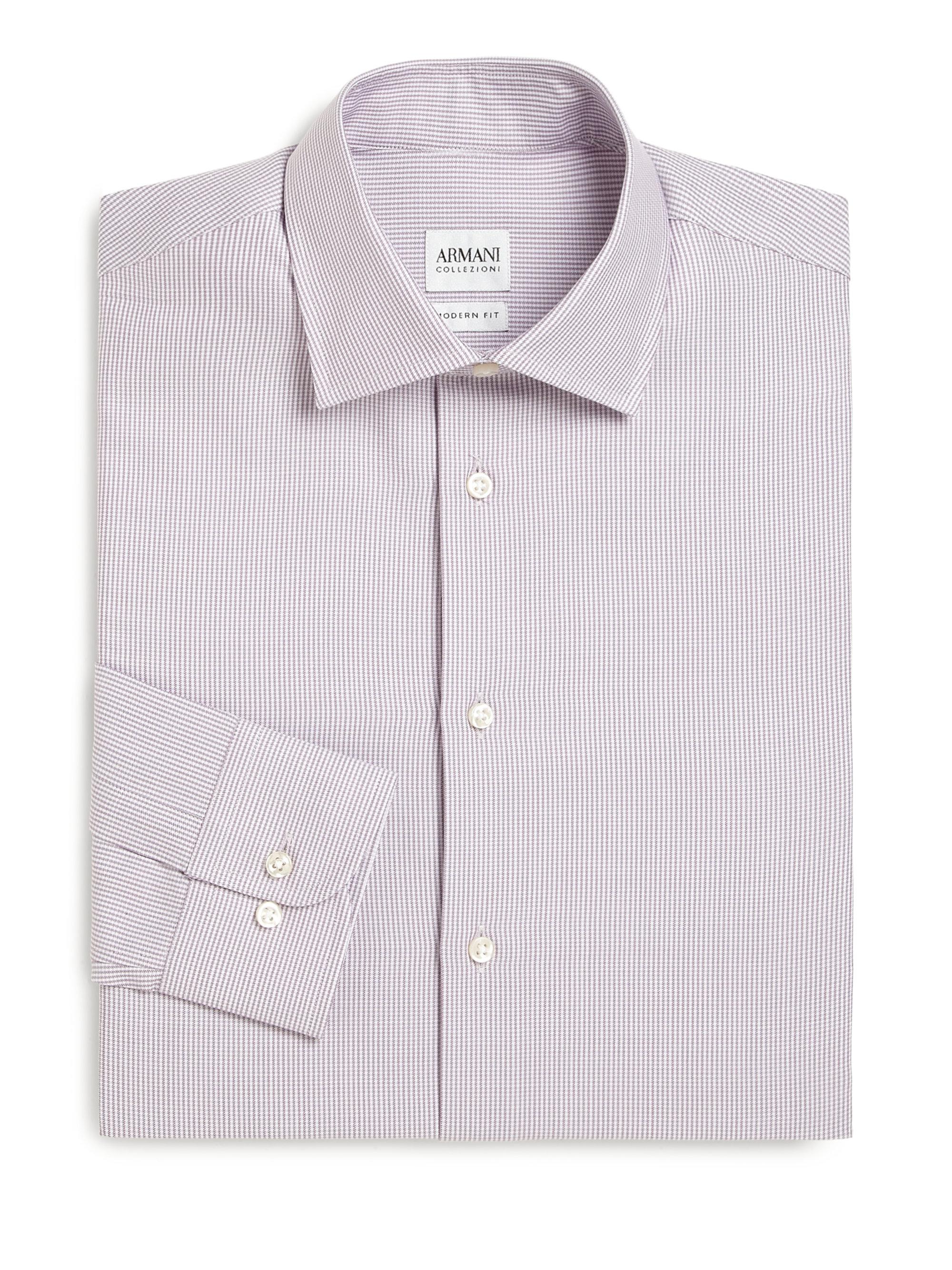 Armani modern fit printed dress shirt in purple for men lyst for Modern fit dress shirt