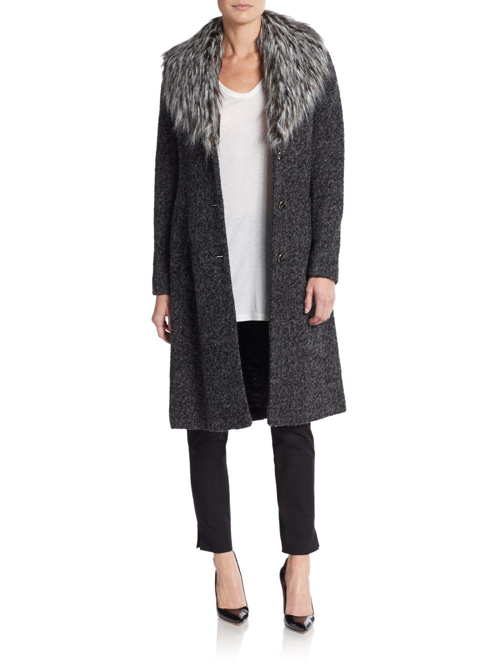Ivanka Trump Boucle Faux Fur Trimmed Coat In Black Lyst