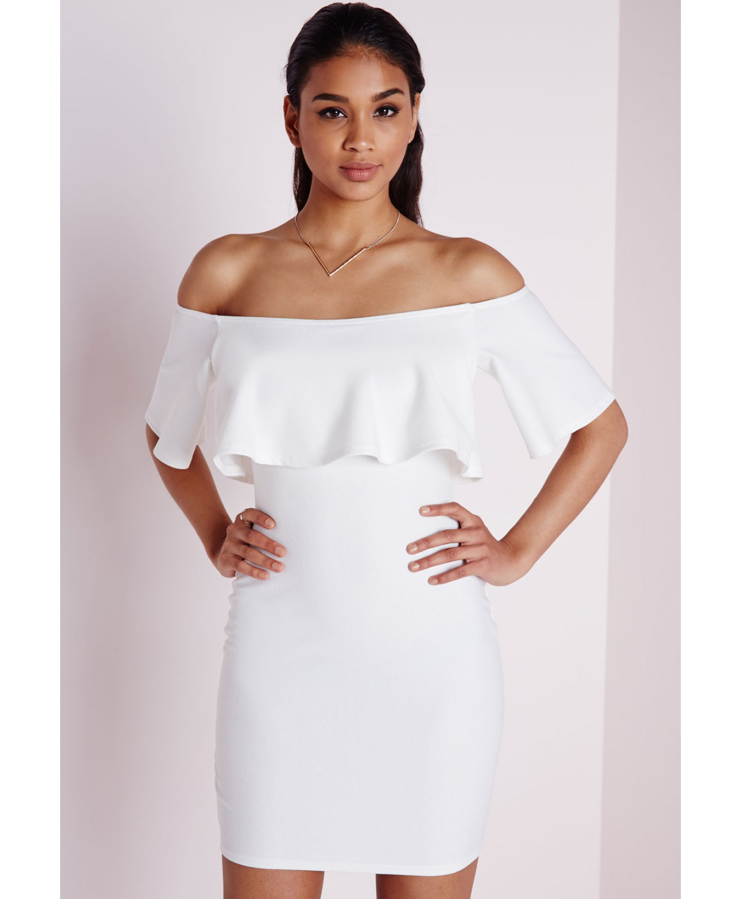 26e88b926fe0 Lyst - Missguided Crepe Frill Bodycon Dress White in White