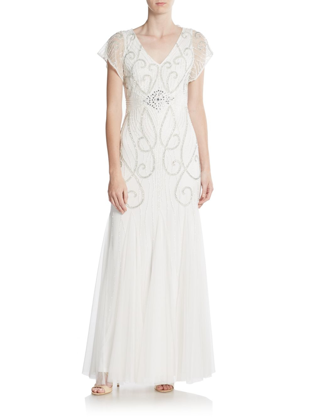 Lyst Adrianna Papell Beaded Flutter Sleeve Gown In White