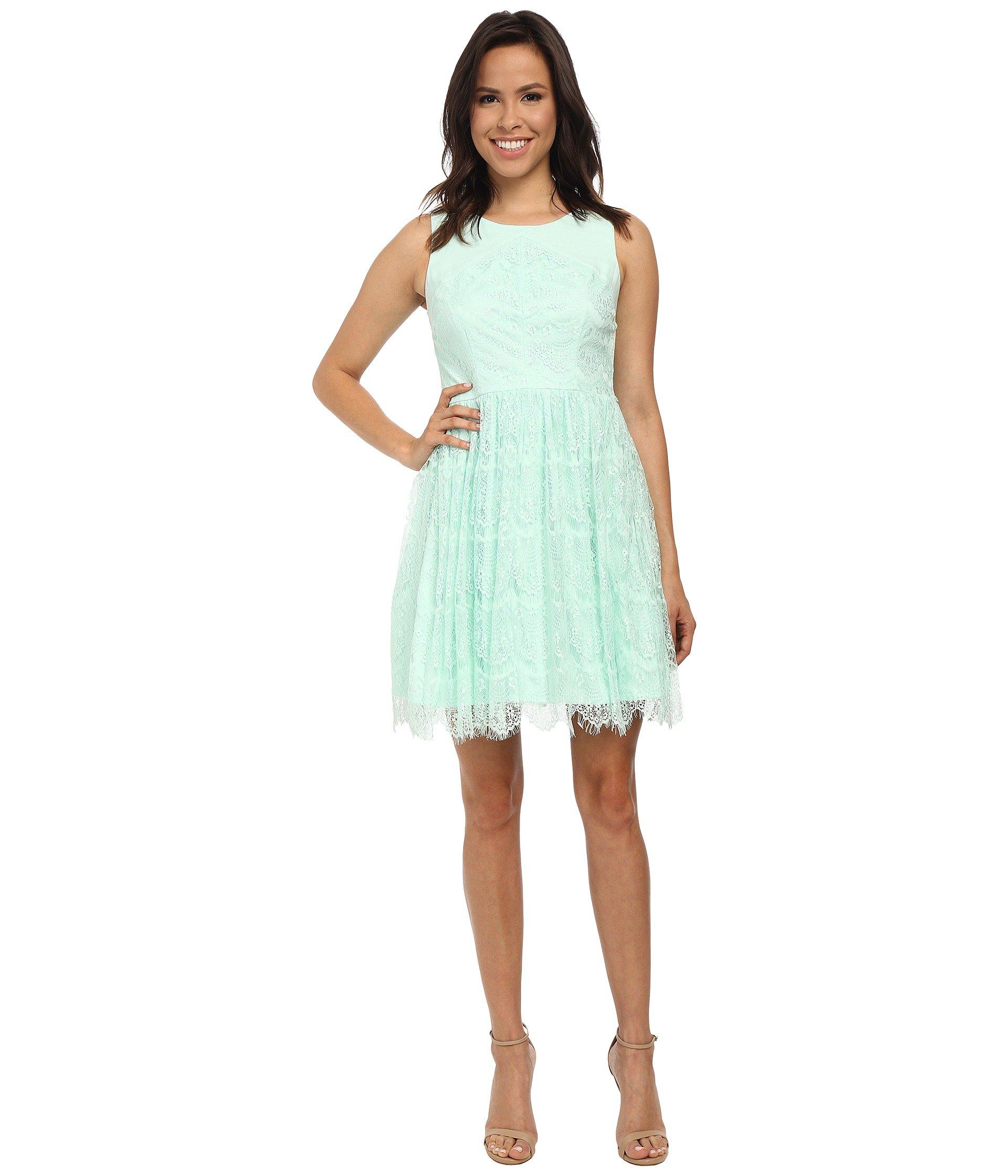 2b17c00800 Jessica Simpson Sleeveless Lace Dress in Green - Lyst