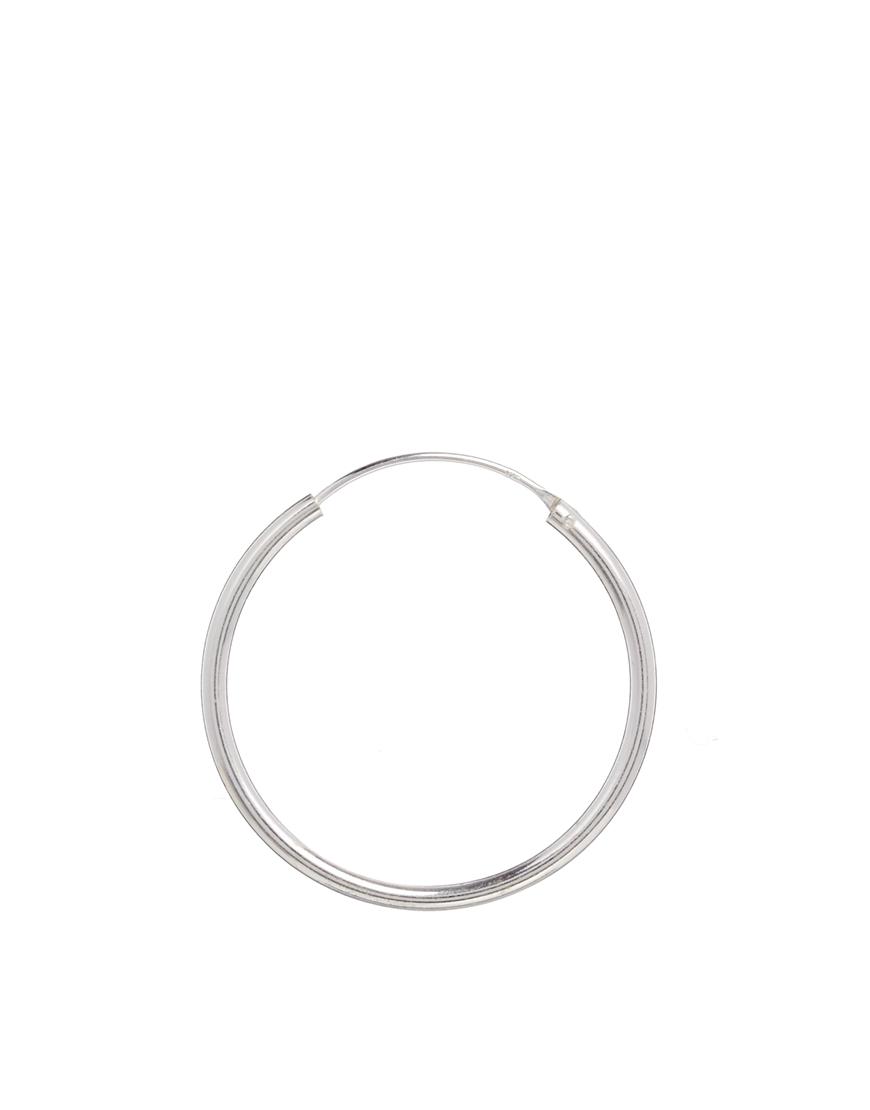 e11c77eb1 ASOS Sterling Silver 30mm Hoop Earrings in Metallic - Lyst