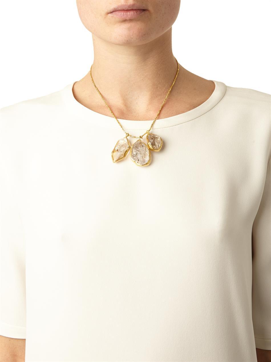 Lyst pippa small herkimer diamond quartz gold necklace in metallic aloadofball Gallery