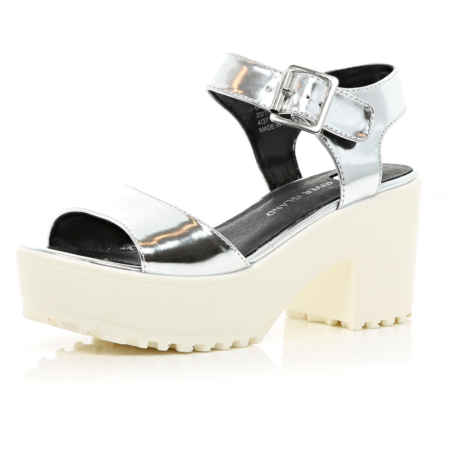 River Island Silver Metallic Cleated Sole Platform Sandals in ... 9b83ec5f3085