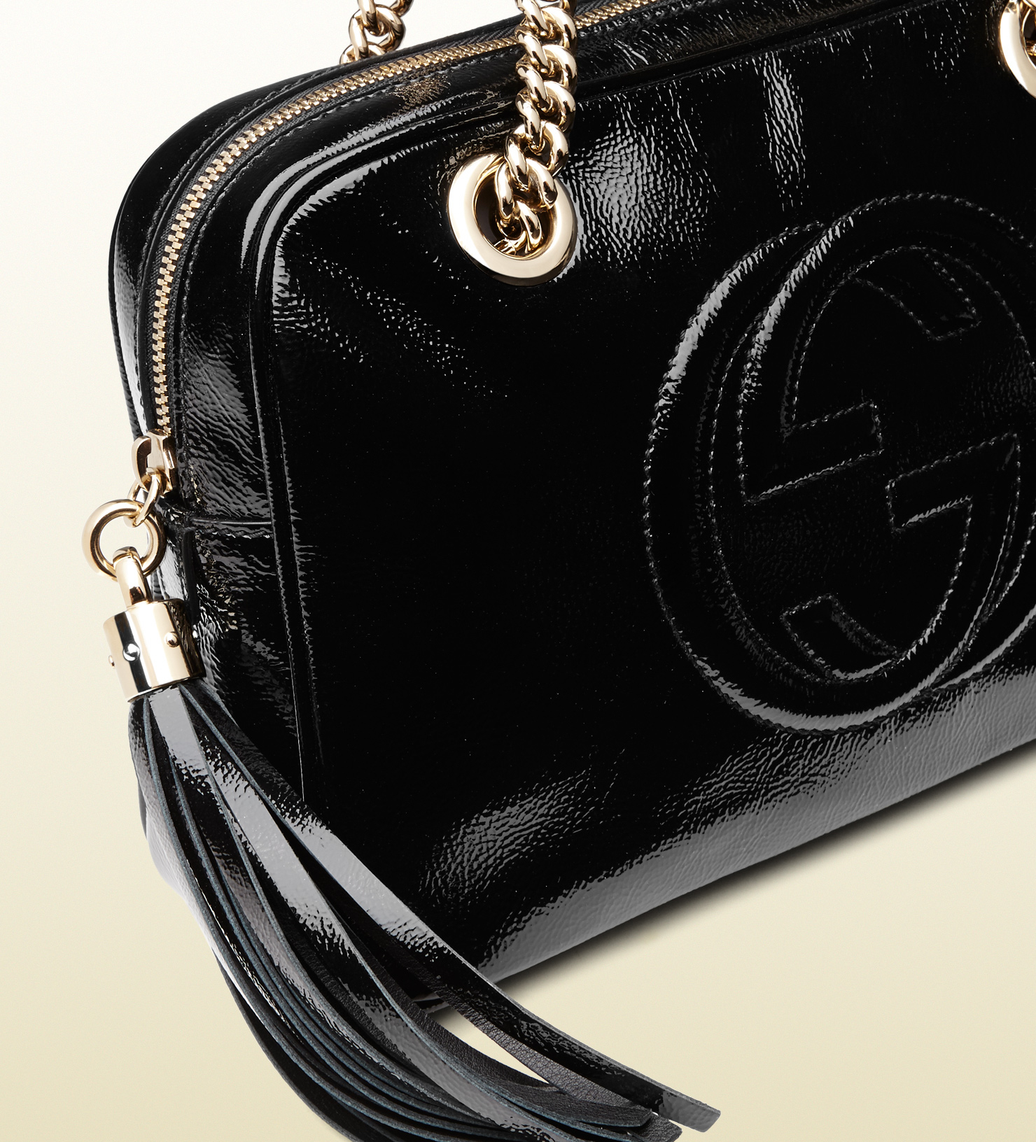 Lyst - Gucci Soho Soft Patent Leather Chain Shoulder Bag in Black 3cd21e9153b14