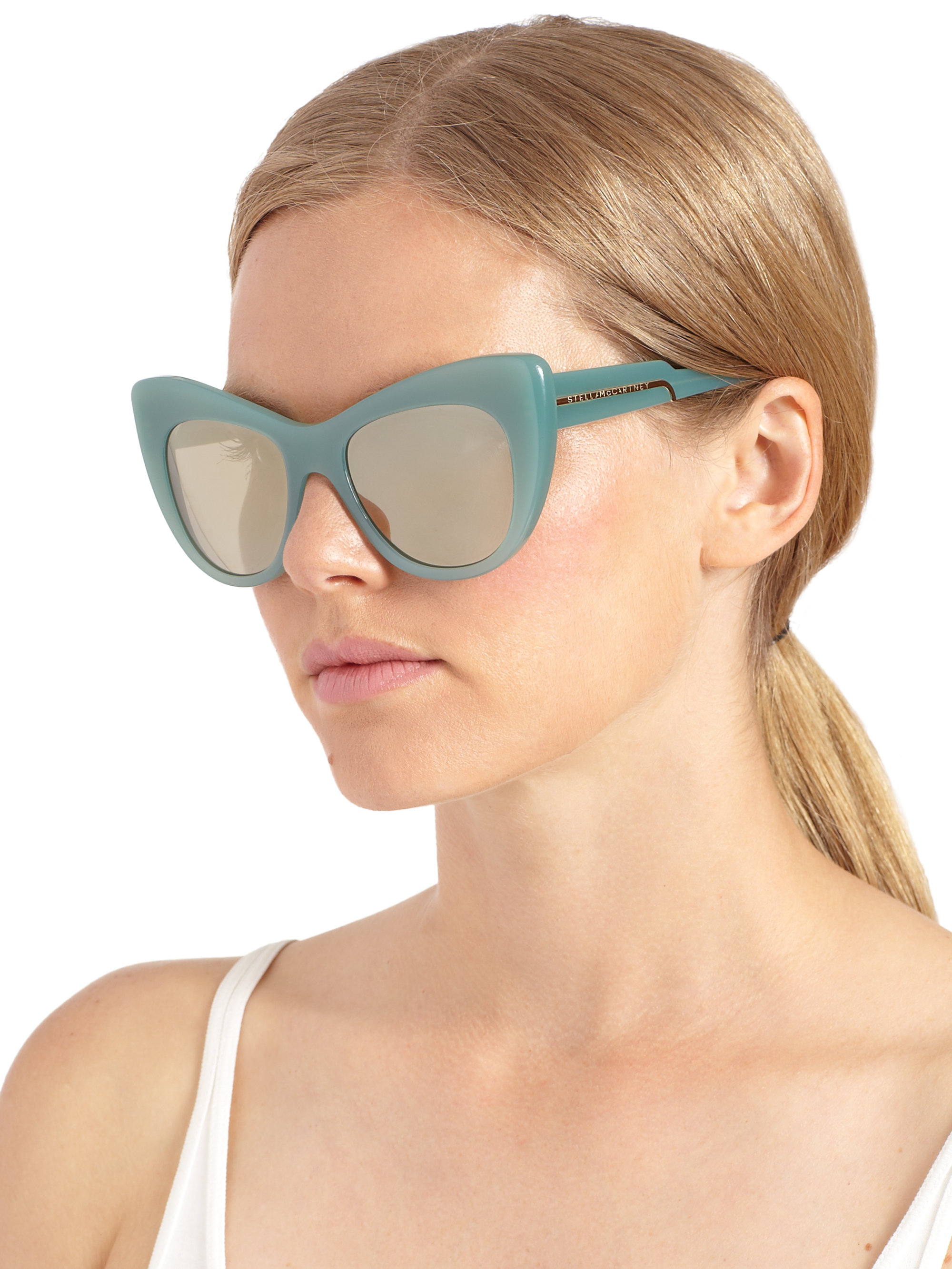Stella Mccartney Sunglasses  stella mccartney oversized 54mm cat s eye sunglasses in blue lyst