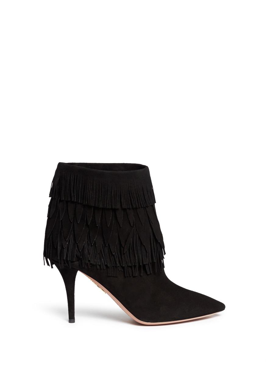 Aquazzura \'sasha\' Suede Fringe Ankle Boots in Black | Lyst