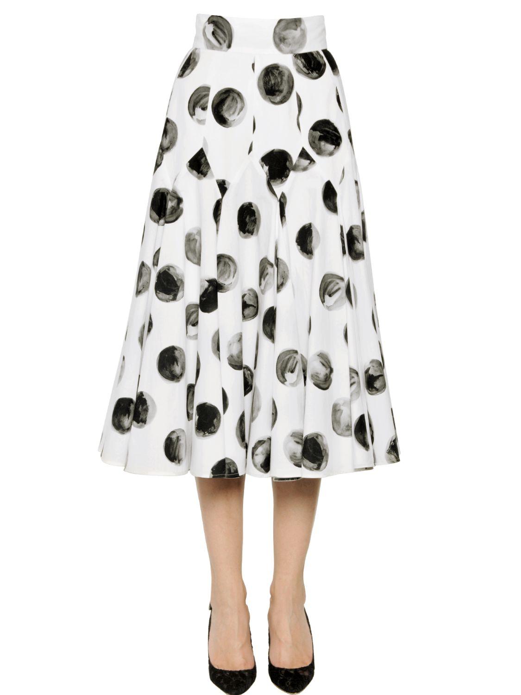 dolce gabbana polka dot cotton poplin midi skirt in