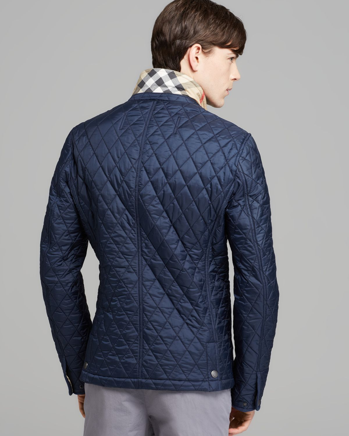 Quilted Blazers: Burberry Brit Howe Quilted Blazer Jacket In Blue For Men