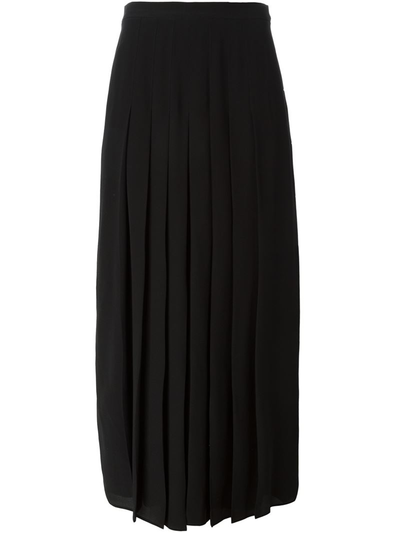 Givenchy Long Pleated Skirt in Black | Lyst