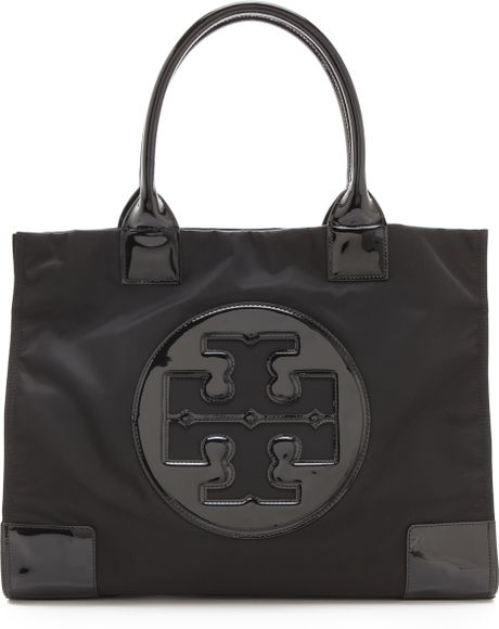 Tory Burch Ella Nylon Tote in Black (black/ black) - Lyst