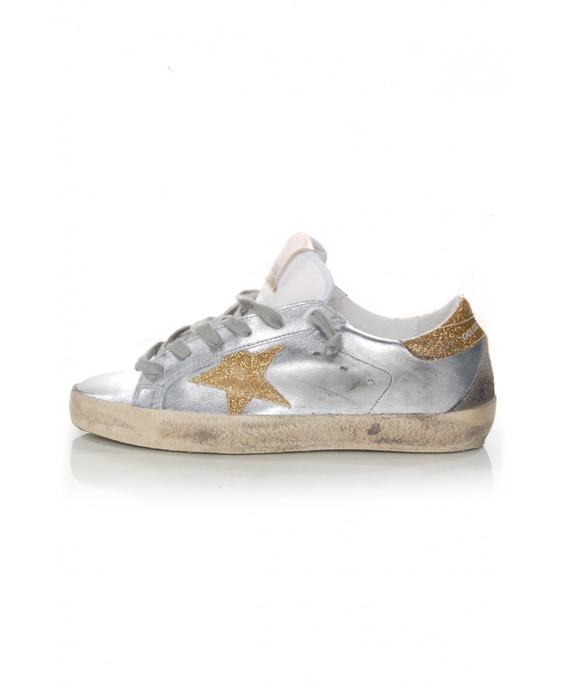 Golden Goose Silver & Gold Superstar Sneakers Fku14POA