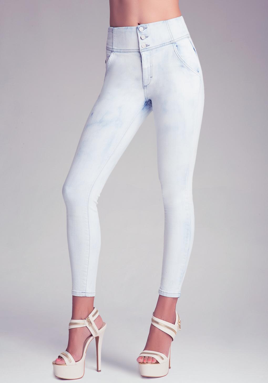 Bebe Corset Waist Skinny Jeans In Blue Lyst