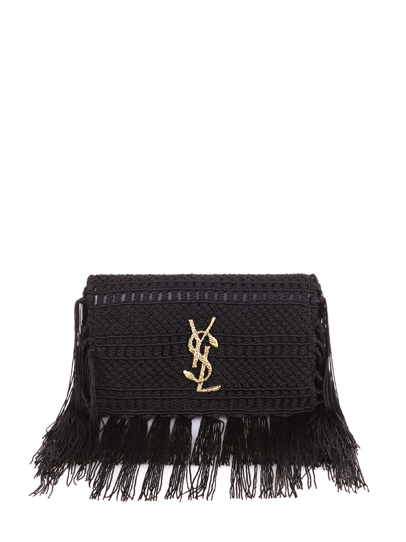 ysl patent leather wallet - monogram crochet fringe clutch bag, white