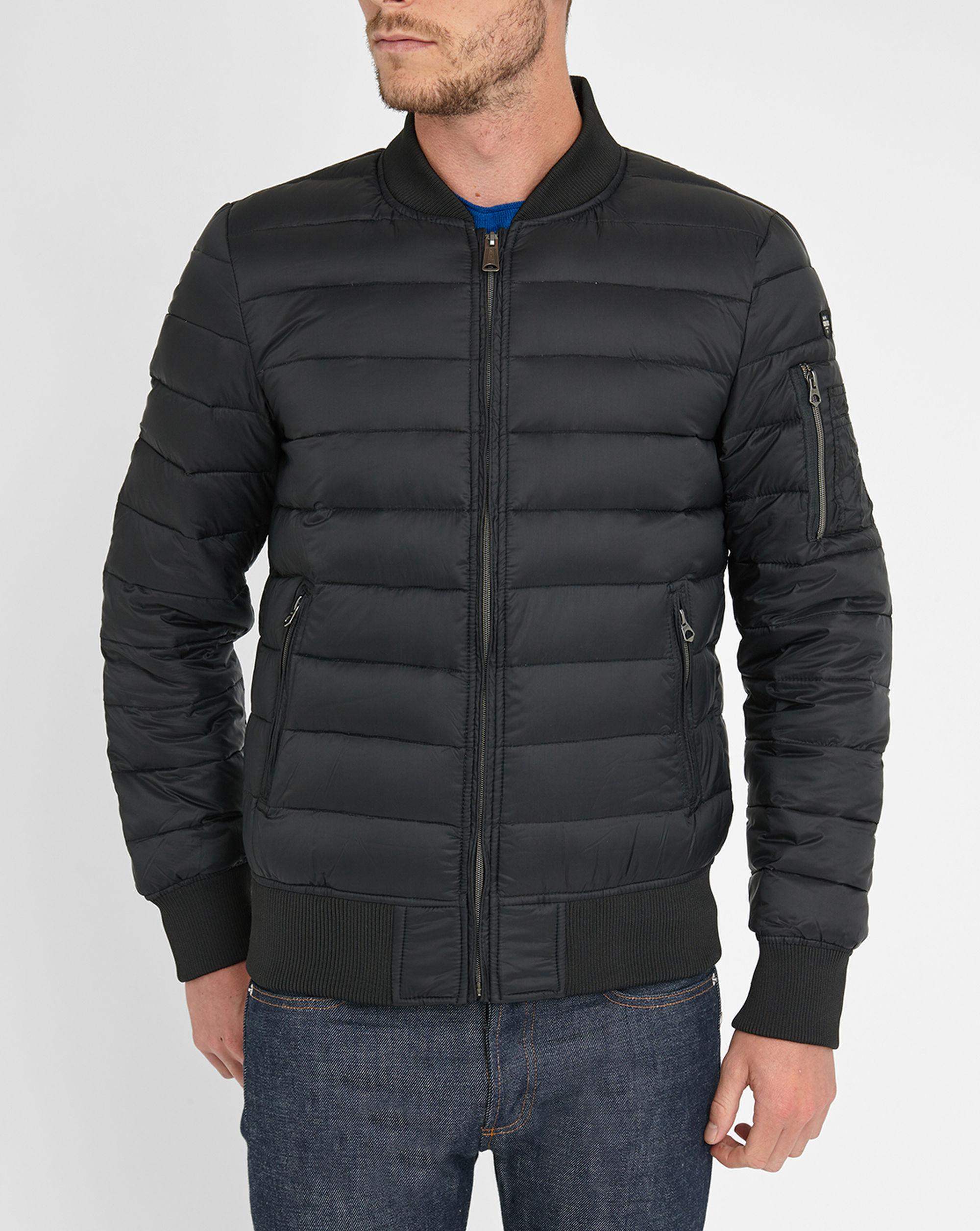 schott nyc black norfolk feather down bomber jacket in black for men lyst. Black Bedroom Furniture Sets. Home Design Ideas