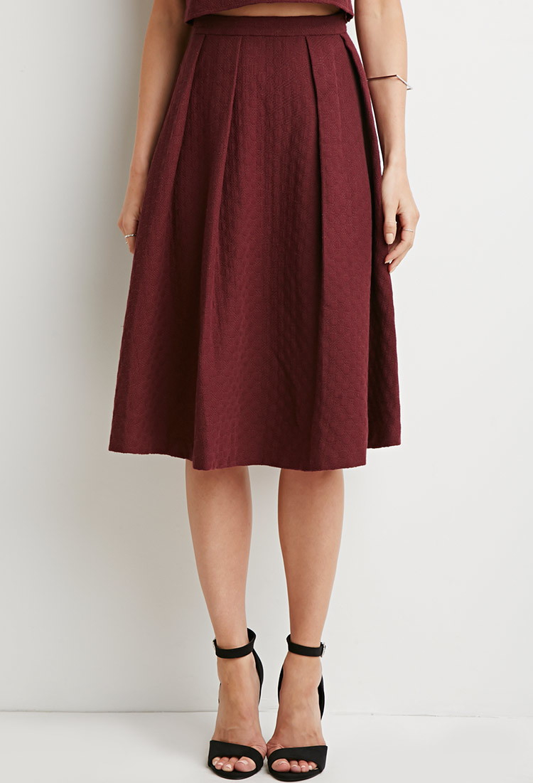 Forever 21 Contemporary Dot Patterned A Line Skirt In